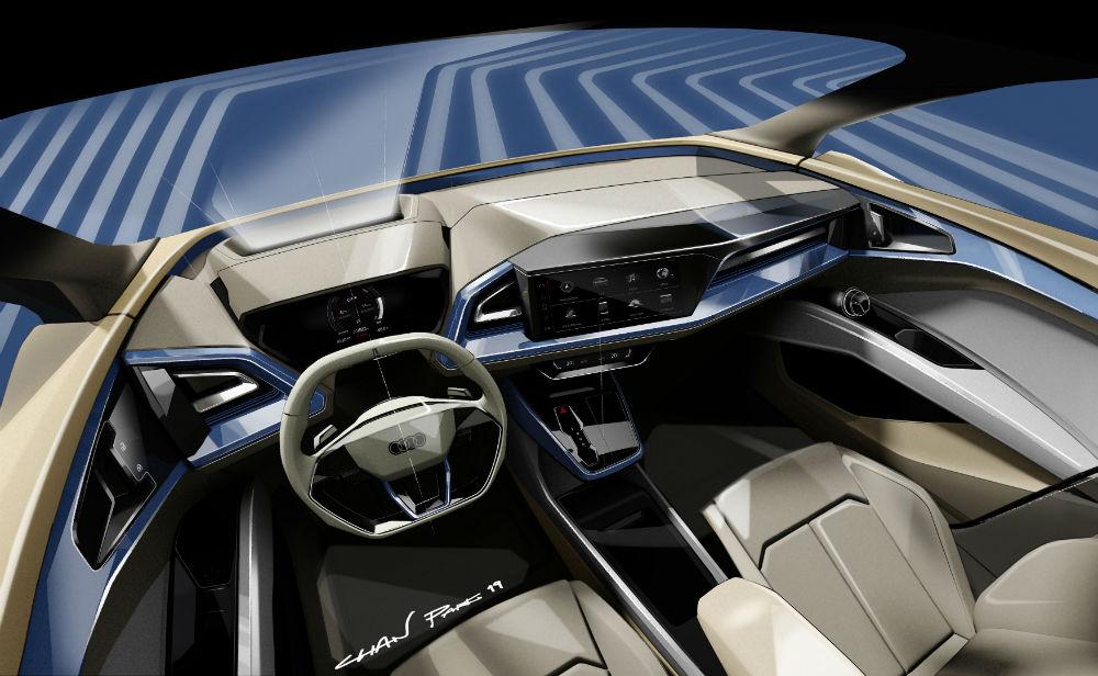 Audi Q4 e tron تظهر برسوم تخطيطية خلال معرض جنيف للسيارات